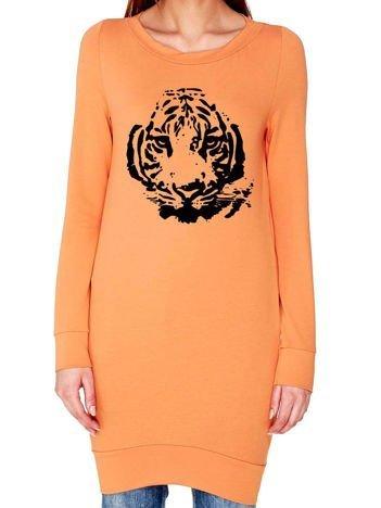 Tunika z nadrukiem tygrysa jasnopomarańczowa