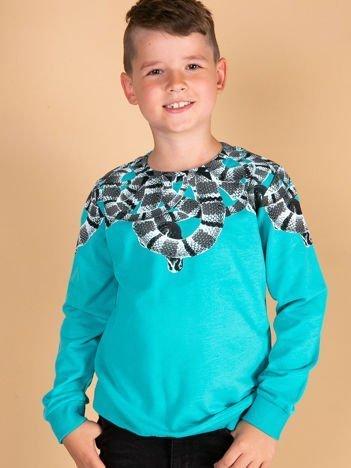 Turkusowa bluza dla chłopca z nadrukiem