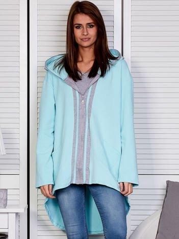 Turkusowa bluza z kontrastowym suwakiem