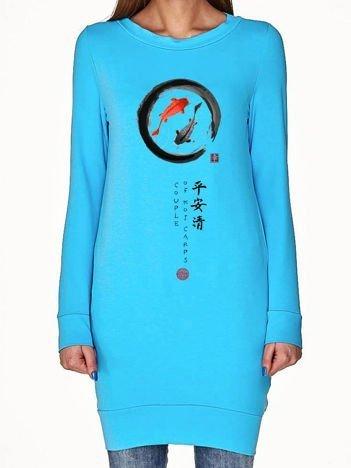 Turkusowa tunika z japońskim nadrukiem
