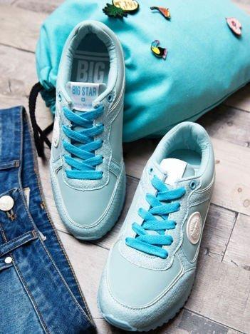 Turkusowe buty sportowe Big Star ze skórzanymi wstawkami i tłoczeniami w skórę węża na sprężystej podeszwie