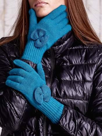 Turkusowe rękawiczki z kokardką i długim ściągaczem