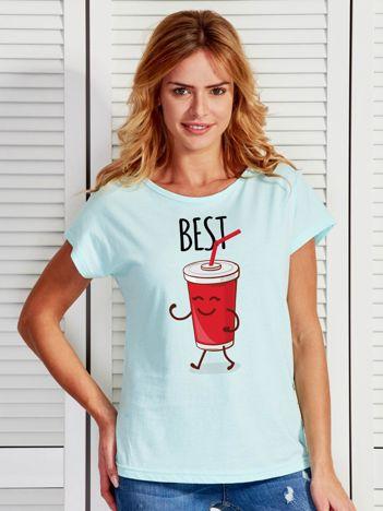 Turkusowy t-shirt damski z napojem