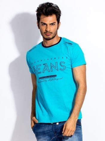 Turkusowy t-shirt męski JEANS