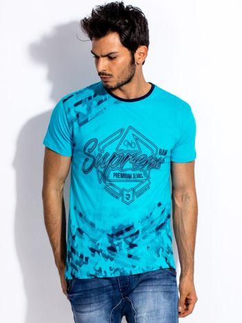 Turkusowy t-shirt męski z graficznym napisem
