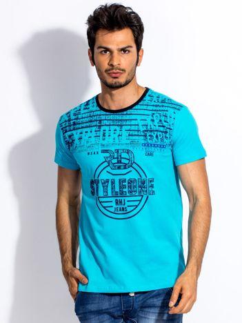 Turkusowy t-shirt męski z okrągłym nadrukiem