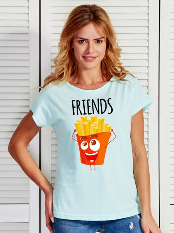Turkusowy t-shirt z nadrukiem frytek