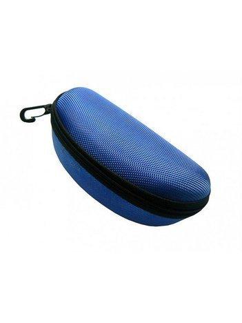 Twarde etui na okulary zapinane na suwak z karabińczykiem niebieskie