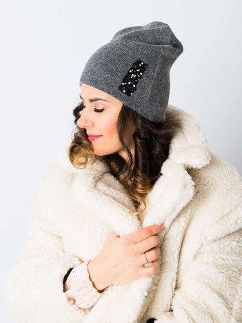 V&T Winter Fashion Ciemnoszara Ocieplana Czapka Męska
