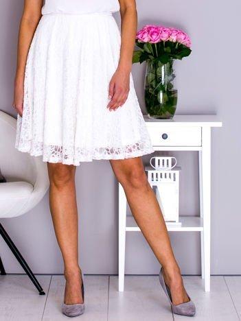 VIA DELLE ROSE Biała rozkloszowana koronkowa spódnica