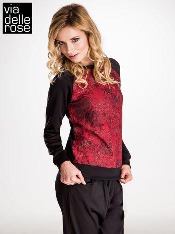 VIA DELLE ROSE Czarna bluza z motywem kwiatowym