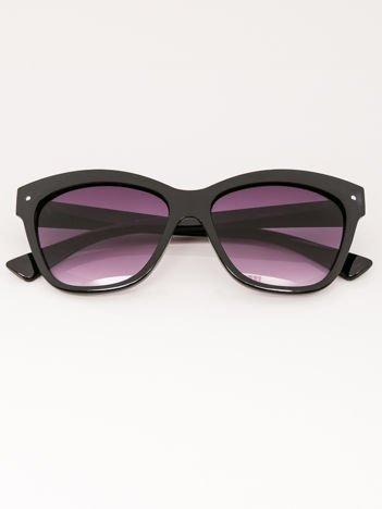 VIP LIFE Okulary przeciwsłoneczne damskie czarne szkło szaro-fioletowe dymione