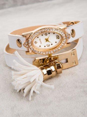 WRAP owijany wokół nadgarstka biały zegarek damski  z chwostem