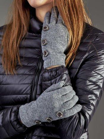 Wełniane rękawiczki damskie dotykowe ciemnoszare