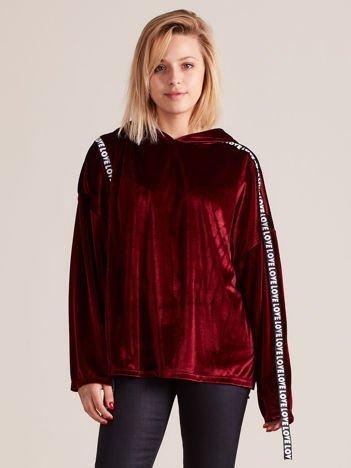 Welurowa bluza oversize z kapturem bordowa