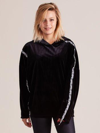 Welurowa bluza oversize z kapturem czarna