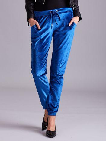 Welurowe spodnie dresowe niebieskie