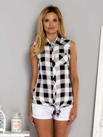 Wiązana koszula w kratę biało-czarna