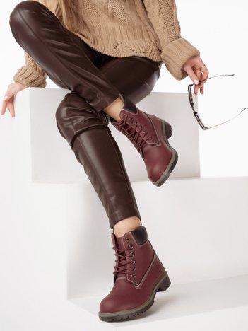 Wiśniowe buty trekkingowe damskie traperki z ciemną podeszwą i czarną cholewką