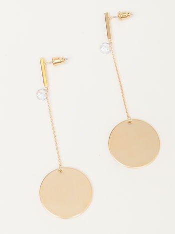 Wiszące złote długie kolczyki z cyrkonią i kółkiem na złotym łańcuszku Zapięcie na sztyft Pokryte 18-to karatowym złotem