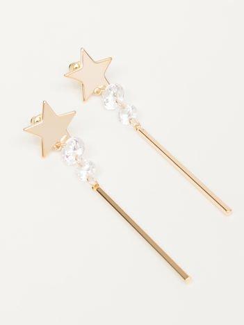 Wiszące złote długie kolczyki z gwiazdkami i cyrkonią Zapięcie na sztyft Pokryte 18-to karatowym złotem