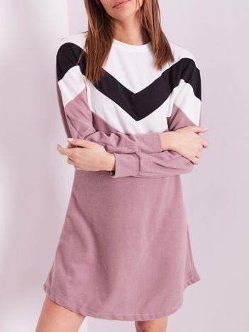 Wrzosowa sukienka color block