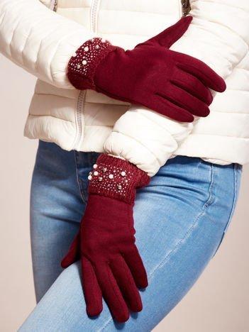 Wyjątkowo Ciepłe Bordowe Rękawiczki Damskie z Ozdobnym Mankietem