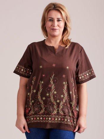 Wzorzysta bluzka koszulowa brązowa PLUS SIZE