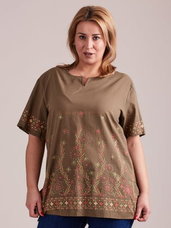 Wzorzysta bluzka koszulowa oversize khaki