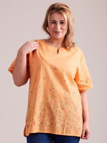 Wzorzysta bluzka koszulowa oversize pomarańczowa PLUS SIZE