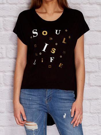 YUPS Czarny asymetryczny t-shirt z błyszczącą aplikacją