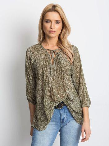 YUPS Khaki koszula z motywem paisley