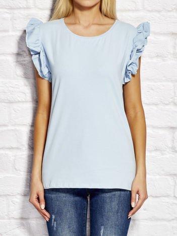 YUPS Niebieski t-shirt z falbanami