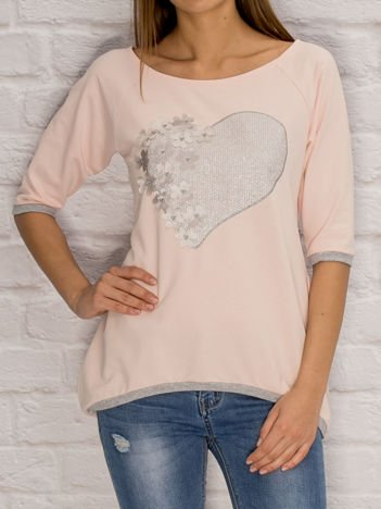 YUPS Różowa dresowa bluza z motywem serca