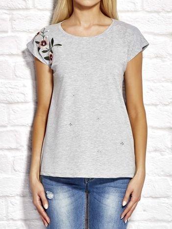 YUPS Szary t-shirt z kwiatowym haftem i aplikacją