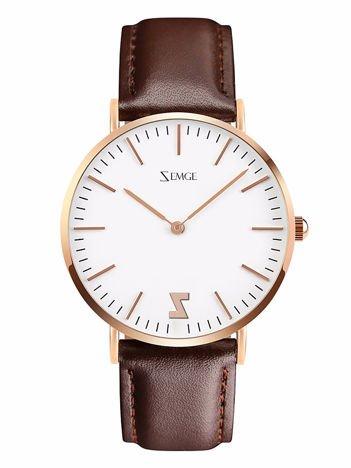ZEMGE Zegarek damski złoty na skórzanym brązowym pasku Eleganckie pudełko prezentowe w komplecie