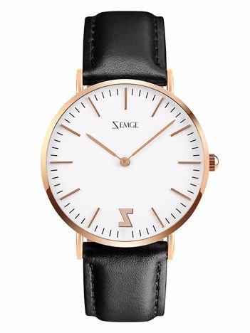ZEMGE Zegarek damski złoty na skórzanym czarnym pasku Eleganckie pudełko prezentowe w komplecie