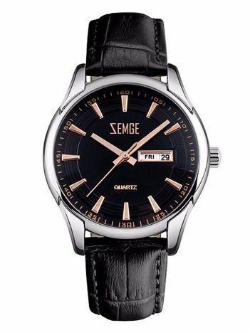 ZEMGE Zegarek męski srebrny na skórzanym czarnym pasku Eleganckie pudełko prezentowe w komplecie