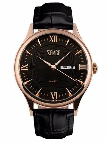 ZEMGE Zegarek unisex złoto-czarny na skórzanym czarnym pasku Eleganckie pudełko prezentowe w komplecie