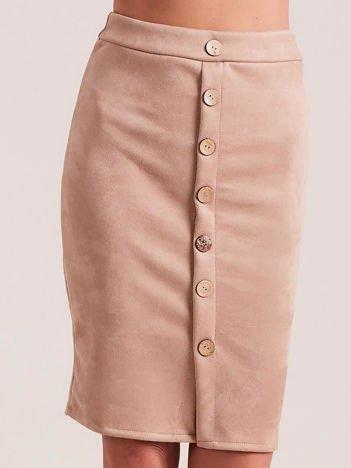 Zamszowa spódnica ołówkowa beżowa
