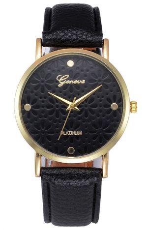 Zegarek damski czarny ze ażurową tarczą