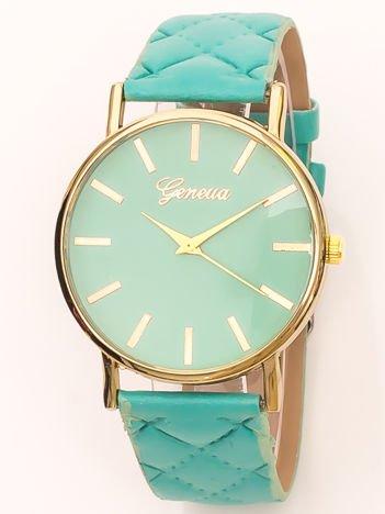 Zegarek damski na pikowanym pasku jasnomiętowy