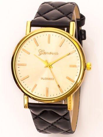 Zegarek damski na pikowanym pasku złoto-czarny