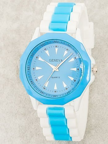 Zegarek damski na wygodnym silikonowym pasku biało-błękitny