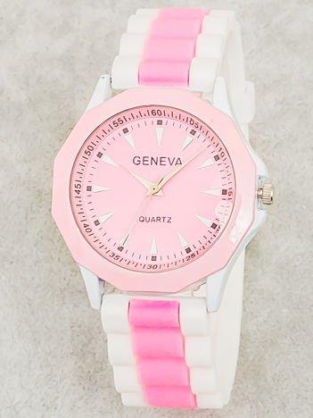 Zegarek damski na wygodnym silikonowym pasku biało-jasnoróżowy