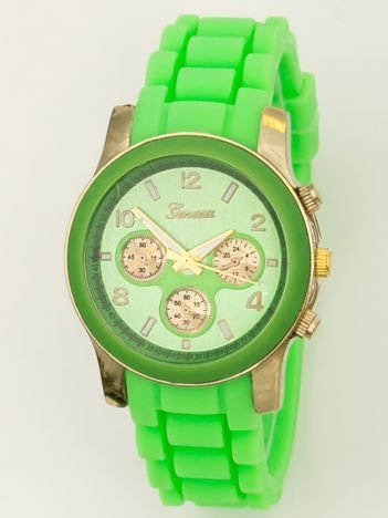 Zegarek damski z ozdobnym chronografem na wygodnym silikonowym pasku zielony