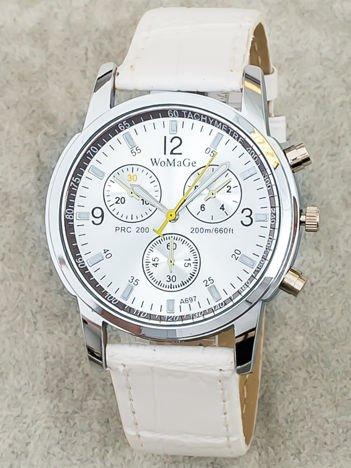 Zegarek damski z ozdobnym chronografem srebrno-biały