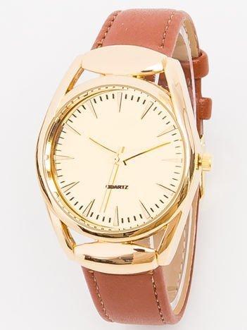 Zegarek damski złoty na brązowym pasku
