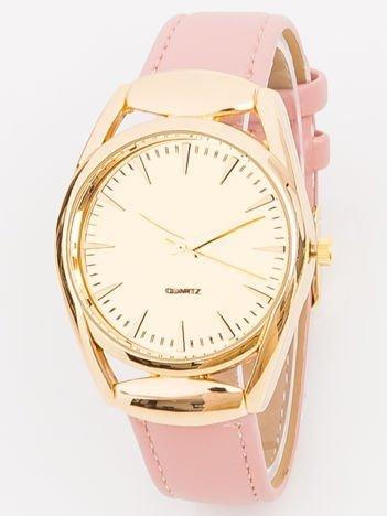 Zegarek damski złoty na różowy pasku