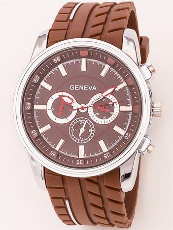 Zegarek męski brązowy z ozdobnym chronografem na tarczy i bieżnikowanym paskiem